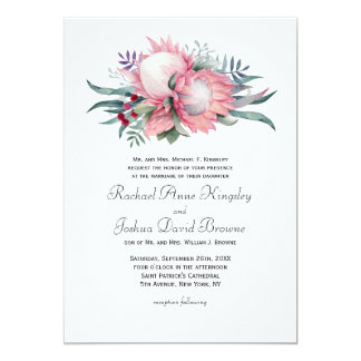 Protea Fantasy Floral Wedding Card