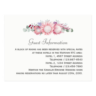 Protea Fantasy Floral Wedding Guest Information Postcard