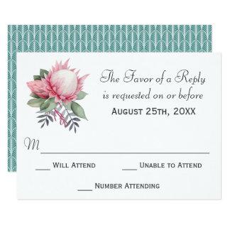 Protea Fantasy Floral Wedding RSVP Card