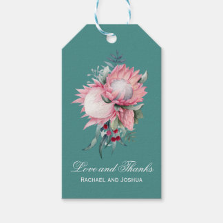 Protea Fantasy Floral Wedding Thank You Gift Tags