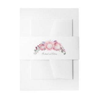 Protea Fantasy Watercolor Floral Wedding Invitation Belly Band