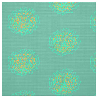 Protea flower print: yellow, turquoise fabric