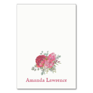 Protea Flowers Watercolor Personalized Place Cards