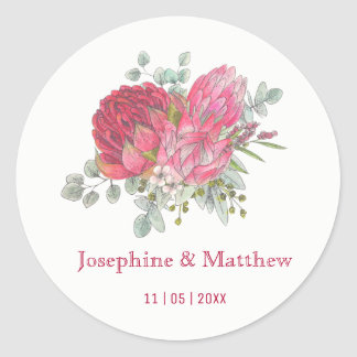 Protea Flowers Watercolor Wedding Stickers