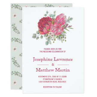 Protea Flowers Wedding Invitations