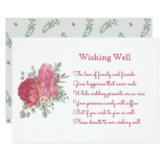 Protea Flowers Wedding Wishing Well Cards
