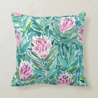PROTEA PARADISE Tropical Floral Watercolor Cushion