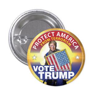 PROTECT AMERICA FROM TERRORISM! VOTE TRUMP BUTTON! 3 CM ROUND BADGE