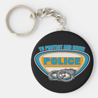 Protect and Serve Handcuffs Basic Round Button Key Ring