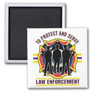 Protect and Serve Police Square Magnet