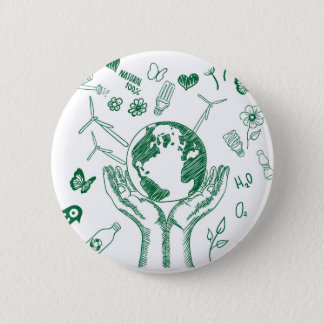 Protect environment 6 cm round badge