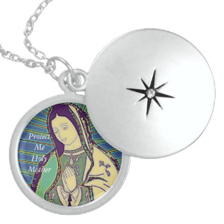 protect me holy mother sterling silver necklace