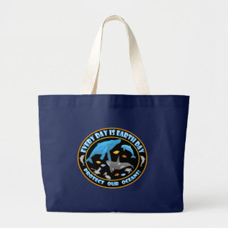 Protect Our Oceans Earth Day Large Tote Bag