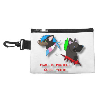 Protect queer youth and trans flag clip on accessory bag