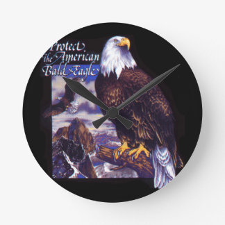 Protect The American Bald Eagle Round Clock
