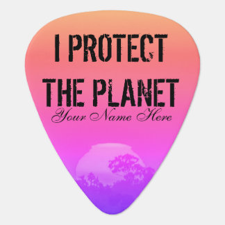 Protect the Planet Pink Orange Rainbow Sunset Tree Plectrum