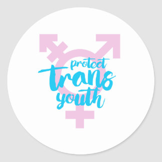 Protect Trans Youth - Trans Symbol - -  Classic Round Sticker