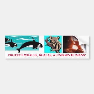 PROTECT WHALES, KOALAS, & UNBORN HUMANS! BUMPER STICKER