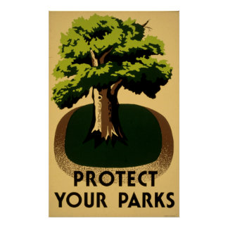 Protect Your Parks Vintage 1938 WPA Poster
