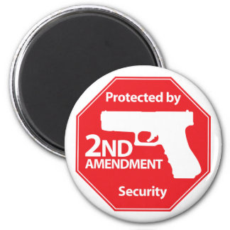 Protected by 2nd Amendment - Red 6 Cm Round Magnet