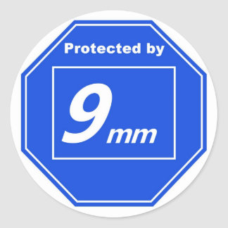 Protected by 9mm round sticker
