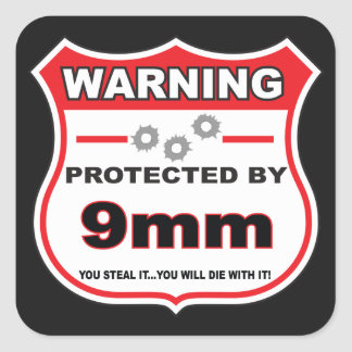 protected by 9mm shield square sticker