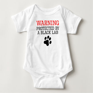 Protected By A Black Lab Baby Bodysuit