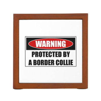 Protected By A Border Collie Desk Organiser