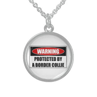 Protected By A Border Collie Sterling Silver Necklace