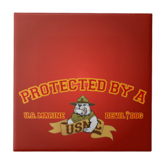 Protected By A Devil Dog Small Square Tile
