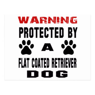 Protected By A Flat-Coated Retriever Dog Postcard