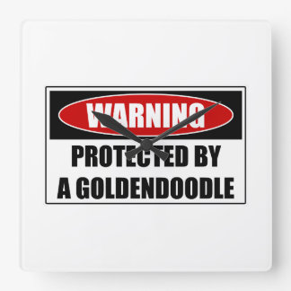 Protected By A Goldendoodle Square Wall Clock