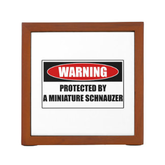 Protected By A Miniature Schnauzer Desk Organiser