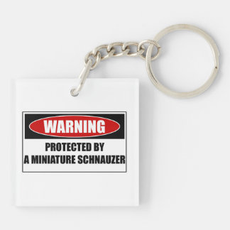 Protected By A Miniature Schnauzer Key Ring