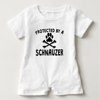 Protected By A Schnauzer Baby Bodysuit
