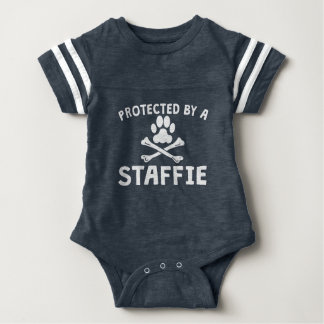 Protected By A Staffie Baby Bodysuit