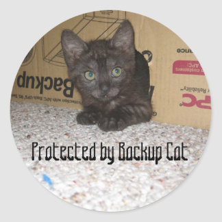Protected by Backup Cat Classic Round Sticker