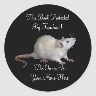 Protected By Familiar Book Plate Classic Round Sticker