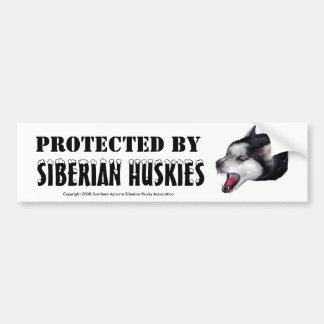 PROTECTED BY, SIBERIAN HUSKIES Bumper Sticker