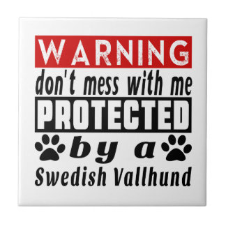 Protected By Swedish Vallhund Small Square Tile