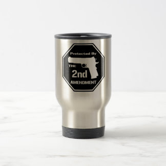 Protected By The Second Amendment (Black) 15 Oz Stainless Steel Travel Mug