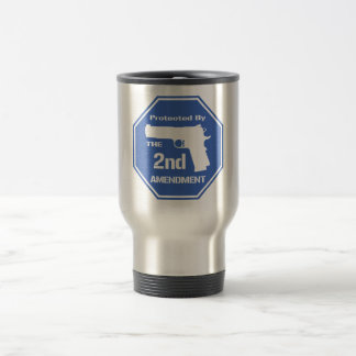 Protected By The Second Amendment (Blue) 15 Oz Stainless Steel Travel Mug
