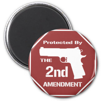 Protected By The Second Amendment (Red).png 6 Cm Round Magnet