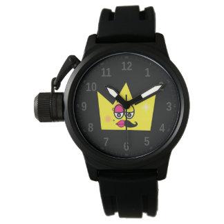 Protective clock of Crown Bracelet Black Rubber Watch