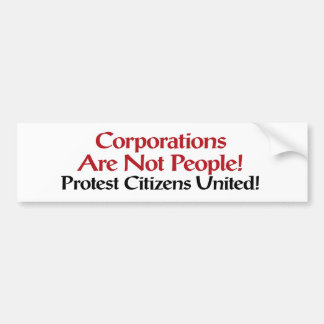 Protest Citizens United Bumper Sticker