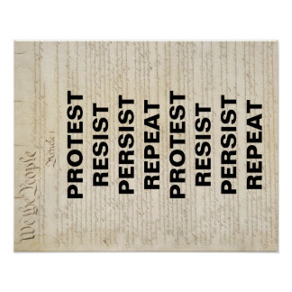 Protest Resist Persist Repeat Constitution Poster