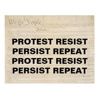 Protest Resist Persist Repeat We the People Postcard