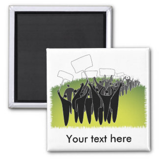 Protest with signs - Green environment Square Magnet
