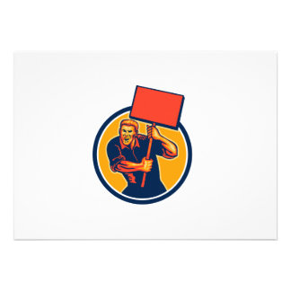 Protester Activist Union Worker Placard Sign Retro Personalized Announcements