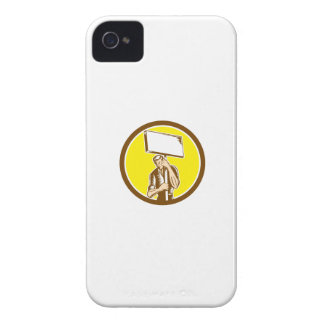 Protester Activist Union Worker Placard Sign Woodc iPhone 4 Case-Mate Case
